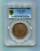 Pcgs Sp 53 Bn South Africa Zar Rare 1874 Transvaal Pattern 2 Pence -only 50 Made