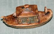 Antique Gondola Tape Measure Boatcelluloid,figural,novelty-made In Germany