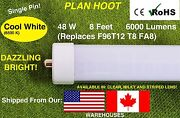 Single Pin 8ft 48w 6500k F96 T12 T8 Fluorescent Replacement Led Tube Light Milky