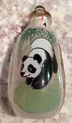Vintage Chinese Glass Snuff Bottle Panda On One Side Yellow Birds On Other