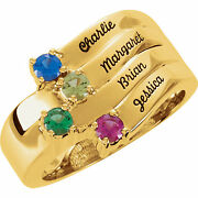 Family Ring 10k Or 14k Solid Gold 1 To 4 Birthstones Childrenand039s Names Engraved
