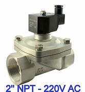 2 Inch Stainless Zero Differential Electric Solenoid Water Valve 220v Ac Viton