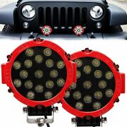 2x 7inch 51w Led Work Light Spot Beam Offroad Truck Round Fog Driving Lamp Red