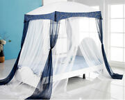 New Bed Canopy Mosquito Net Blue Canopy Bedding Fits Twin / Queen