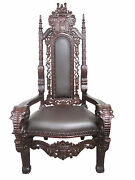 New High End Solid Mahogany Hand Carved Kings Chair-elephant Design-very Unique