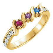 10k Or 14k Solid Gold Personalized Motherand039s Ring 2 To 5 Birthstones Moms Rings