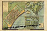 90 French Quarter 1720 Vintage Historic Antique Map Painting Poster Print