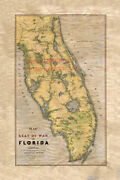 122 Seat Of War In Florida Vintage Historic Antique Map Painting Poster Print