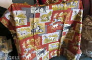 Vintage Lined Barkcloth Style Drapes 4 Panels Decorated With Assorted Animals