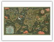 Fly Routes World Map Byboucher 1948 Vintage Airline Travel Poster Fine Art Print