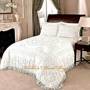 Chenille Medallion Bedspread Ivory Or White 100 Cotton King/queen/full Vintage