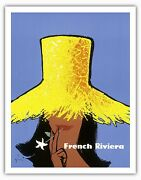 French Riviera Candocircte Dand039azur Sunhat Vintage Airline Travel Art Poster Print Giclee