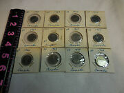 12 Canadian Nickels 5 Cent Coins[2-1963,3-1964,2-1965,2-1966 And 3-1968]
