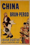 Original Vintage French Alcohol Oversize Poster For China Brun-perod By Oge