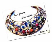 Vintage Mj Hansen Signed Original Collar Necklace - 1990and039s Costume Jewelry