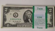 10 Mint Uncirculated Two Dollar Bill Crisp 2 Note Consecutive Serial Number