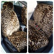 Full Set Of Furry Leopard Print Car Seat Covers - Fits Most Cars