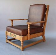 1930s Monterey Rancho Armchair Leather Antique Club Chair Hand Painted 7730