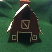 Vintage Fully Assembled Wooden Red Barn And Silo Model Train Or Table Top Scenery