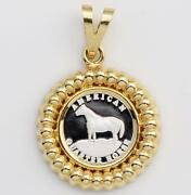 Beautiful 999 Pure Silver Quarter Horse Coin In Solid 14kt Gold Fluted Pendant