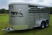 Your Custom Name And Running Horses Horse Trailer Truck Decal Stickers 16x36