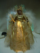 Vntg Large Fiber Optic Angel 12t Gold W/gold Trim Gown White Feather Wings