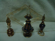 Set Of 3 Pieces Egyptian Perfume Bottles And Glass Tray Gold Leaf Stoppers