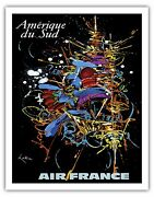 South America Firework Vintage Airline Travel Art Poster Print Giclee