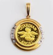 Pure 24kt .9999 Gold Guardian Angel Coin In 18kt Yellow Gold Diamond Pendant