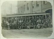 Streetcar / Tramway Depot Workers Antique Historic Photo