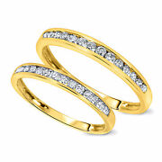 Valentines Day 2/3 Ct D/vvs1 His And Hers Wedding Band Set 10k Yellow Gold