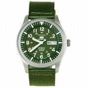 Seiko 5 Sport Menand039s Automatic Green Dial Canvas Watch Snzg09