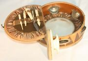 Antique Leather Tambourine Design Etui With Manicure And Sewing Accessories