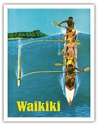Waikiki Outrigger Canoe Surfing Galli Vintage Airline Travel Poster Print Giclandeacutee