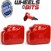 2 X 10 L Red Jerry Military Cans Fuel Oil Petrol Diesel Storage Tank With Spout