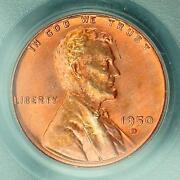 1950-d Lincoln Wheat Cent Ms66rd Pcgs Tangerine Base W/red, Orange And Gold Ogh