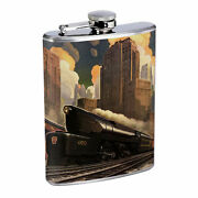 Vintage Art Deco Silver Hip Flask D4 8oz Stainless Steel Old Fashioned Retro