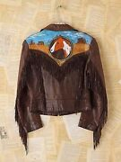 Free People Vintage John David Mahaffey Hand Painted One Of A Kind Leather Fring