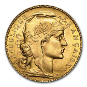 France Gold 20 Francs French Rooster Random Date Average Circ Condition