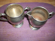 Vintage National Silver Co. Silver On Copper Creamer And Sugar Bowl