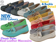 Ladies Real Leather Tassel Slip On Moccasin Flat Nautical Boat Shoes Loafers