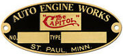 Capitol Auto Engine Works Acid Etched Brass Data Plate St. Paul Minnesota