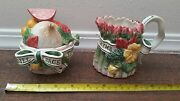Fitz And Floyd Herb Garden Sugar Bowl And Creamer Easter Bunny Rabbit Lid Spoon