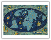 Global World Route Map Boucher 1962 Vintage Airline Travel Poster Fine Art Print