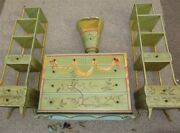 4 Piece 1930s Art Deco Moderne Oriental Painted Cottage Furniture Etagere As Is
