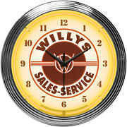 Neon Clock Sign Willys Service Jeep Willy 4x4 All American Legend Since 1941