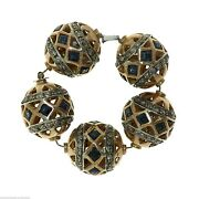 1021 Antique Indian Element For Jewelry - Gold Blue Sapphires And Diamonds