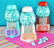 25 Mini Gumball Machine Birthday Baby Shower Sweet 15 16 Party Favor Table Decor