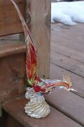 Vintage Murano Art Glass Rooster Or Pheasant, Multicolored , Hand Blown , Italy