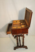 Great Victorian Walnut Sewing Side End Table With Drawer, 19th Century